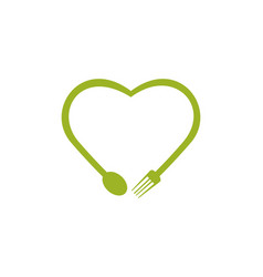 Love heart food abstract symbol with fork and spo vector