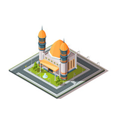 mosque in city islamic muslim religion vector image