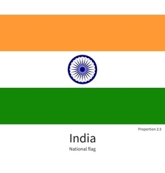 National flag of India with correct proportions vector
