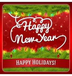 New Year greeting card decorated by pine wreath vector