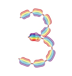 Number 3 made in rainbow colors vector