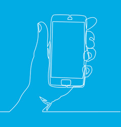 one continuous line of hand holding smartphone vector image
