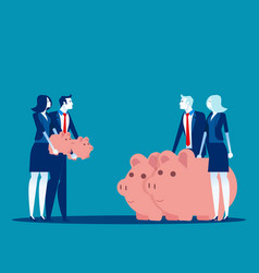 People growing piggy bank with timeline concept vector