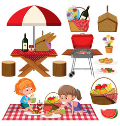 Picnic set with bbq grill and food on white vector