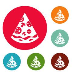 pizza slice icons circle set vector image