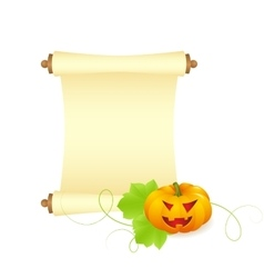 pumpkin with blank sheet of paper vector image