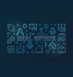 real estate blue outline horizontal banner vector image