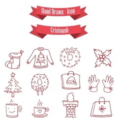 Red icon set of christmas vector