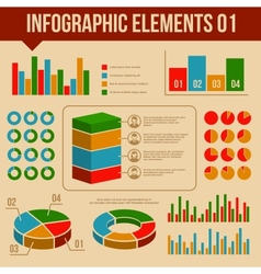 Retro Infographics Elements Set Information and vector image