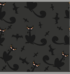 seamless halloween pattern with cats and bats vector image