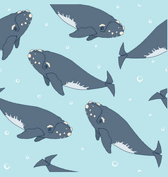 Seamless pattern with whales vector
