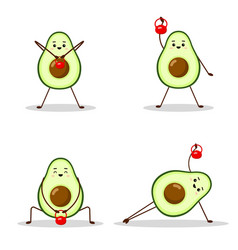 set avocado sport with red weight avocado vector image