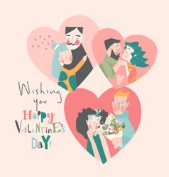 set happy couples in love celebrating vector image