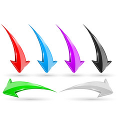 set of 3d arrows shiny icons vector image