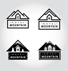 set of hotel mountain badge vector image