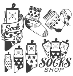 Set of socks emblems and labels vector