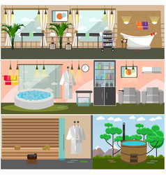 set of spa salon interior concept posters vector image
