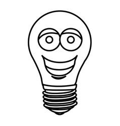 silhouette of cartoon face light bulb icon vector image