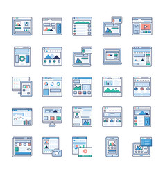 site flow wire frame flat icons pack vector image