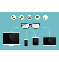 smart glasses are connected to devices vector image