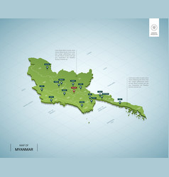 Stylized map myanmar isometric 3d green map vector