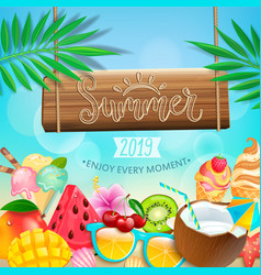 Summer 2019 greeting card on tropical background vector