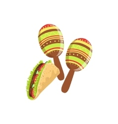 Taco And Maracas Mexican Culture Symbol vector