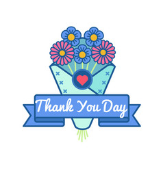 Thank you day greeting emblem vector