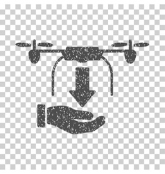 Unload Drone Hand Grainy Texture Icon vector