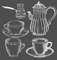 Vintage tea and coffee set hand drawn vector