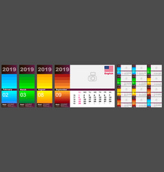 wall calendar 2019 in english usa us american vector image
