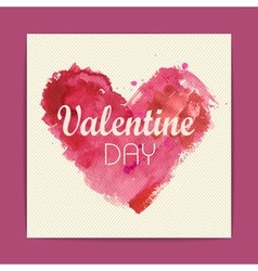 Watercolor heart Valentine background vector image