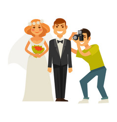 wedding photographer and couple bride and groom vector image