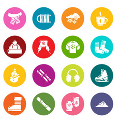 winter clothes icons set colorful circles vector image