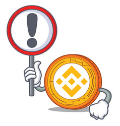 With sign binance coin character catoon vector