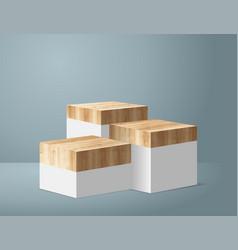 Wood podium on white room background presentation vector