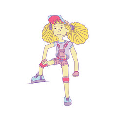 young girl with yellow hair in baseball cap and vector image