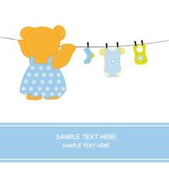 bear hanging clothes blue vector image vector image