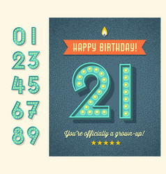 birthday card with 3d light bulb numbers vector image vector image