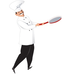 Chef with a skillet vector image