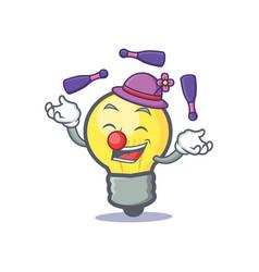 juggling light bulb character cartoon vector image vector image