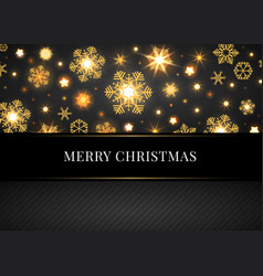 merry christmas card with golden snowflakes vector image vector image