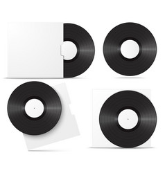 realistic vinyl record in sleeve blank mock up vector image vector image