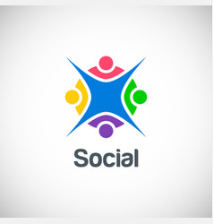 social group colorful happy logo vector image