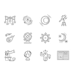 Thin line style astronomy icons vector image