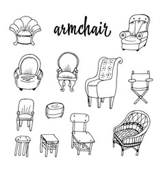 doodle and chairs vector image