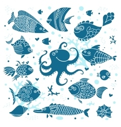 Set imprint cute fish and octopus for the design vector image