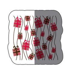 sticker colorful background set gift box design vector image