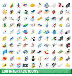 100 interface icons set isometric 3d style vector image