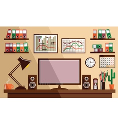 Business workplace with office things equipment vector